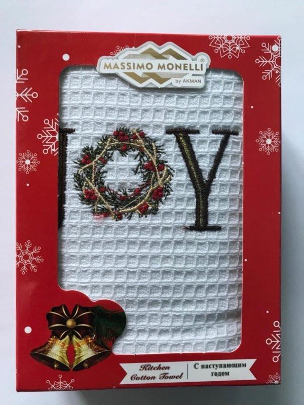 купить Кухонное полотенце Massimo Monelli вафельное Joy Белый фото