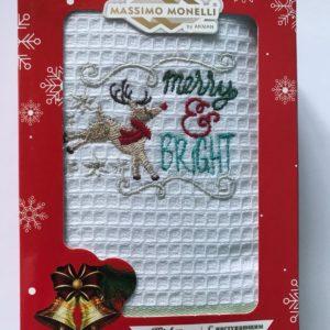 купить Кухонное полотенце Massimo Monelli вафельное Merry and Bright Белый фото