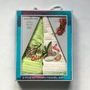 купить Набор кухонных полотенец Gold Soft Life Олива V04 2 шт Зеленый фото
