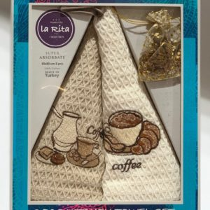 купить Набор кухонных полотенец Gold Soft Life La Rita V01 2 шт Кофейный|Бежевый фото