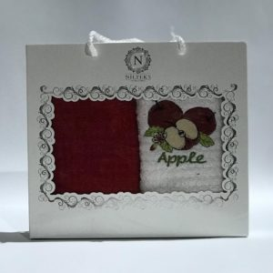 купить Набор кухонных полотенец Nilteks махровые Apple 2 шт Бордовый фото