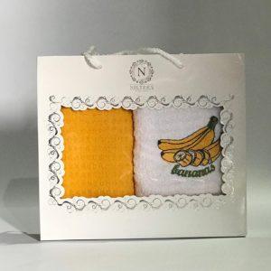 купить Набор кухонных полотенец Nilteks махровые Bananas 2 шт Желтый фото