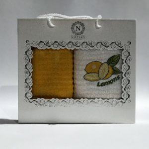 купить Набор кухонных полотенец Nilteks махровые Lemons 2 шт Желтый фото