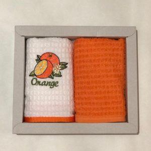 купить Набор кухонных полотенец Nilteks махровые Orange 2 шт Оранжевый фото