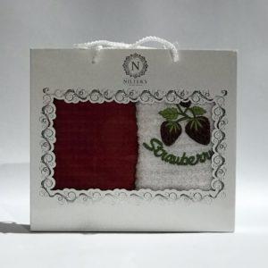 купить Набор кухонных полотенец Nilteks махровые Strawberry 2 шт Бордовый фото