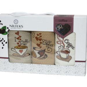 купить Набор кухонных полотенец Nilteks толстая упаковка Coffee 3 шт Кофейный фото