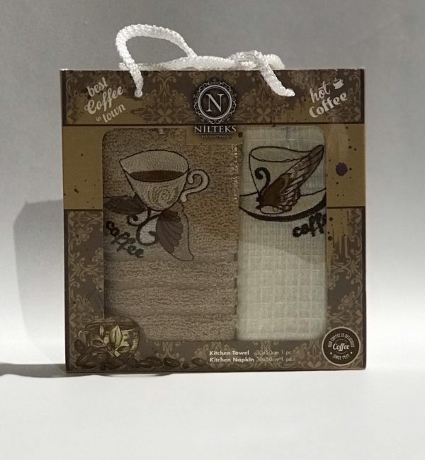 купить Набор кухонных полотенец Nilteks Best Coffee V1 2 шт Кофейный фото