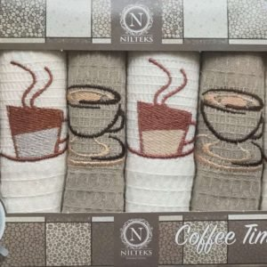купить Набор кухонных полотенец Nilteks Coffee Time V02 6 шт Серый фото