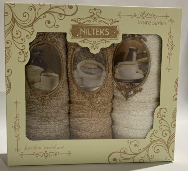 купить Набор кухонных полотенец Nilteks Laure Series 3D Coffee 3 шт Бежевый фото