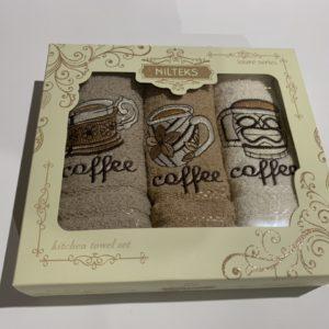купить Набор кухонных полотенец Nilteks Laure Series Coffee 3 шт Бежевый фото