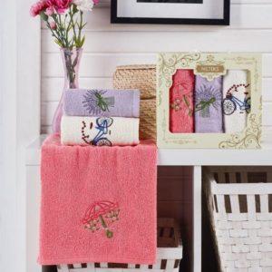 купить Набор кухонных полотенец Nilteks Laure Series Provans 3 шт Розовый фото