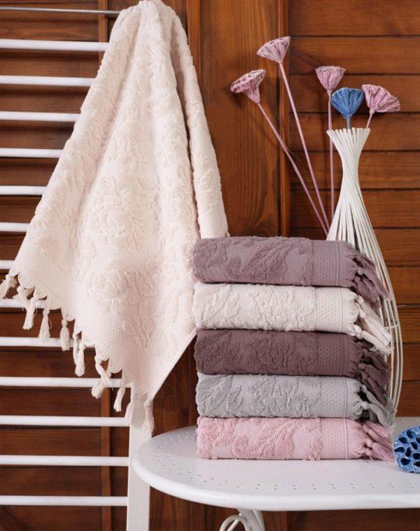купить Набор махровых полотенец Sikel жаккард Sacakli Lilyum 6 шт  фото