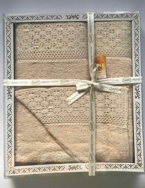 купить Набор махровых полотенец Sikel кружево Soft 3 шт бежевый Кремовый фото