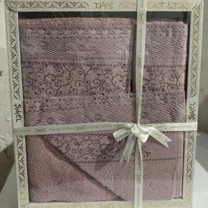 купить Набор махровых полотенец Sikel кружево Verona 3 шт лиловый Лиловый фото