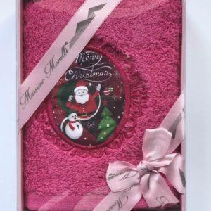 купить Полотенце Massimo Monelli Санта Снеговик и елка Розовый фото