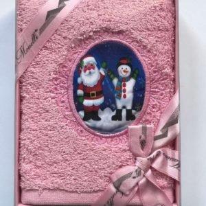 купить Полотенце Massimo Monelli Санта и Снеговик розовый Розовый фото