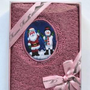 купить Полотенце Massimo Monelli Санта и Снеговик темно розовый Розовый фото