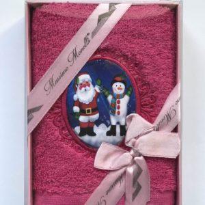 купить Полотенце Massimo Monelli Санта и Снеговик фуксия Розовый фото