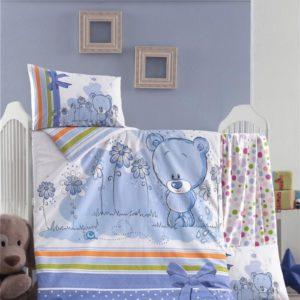 купить Постельное белье для младенцев Victoria Ранфорс Bear Голубой фото