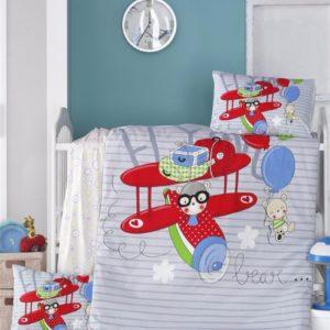 купить Постельное белье для младенцев Victoria Ранфорс Flying Голубой фото