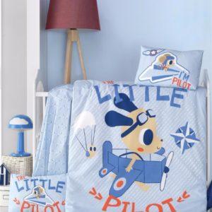 купить Постельное белье для младенцев Victoria Ранфорс Litte Pillot Голубой фото