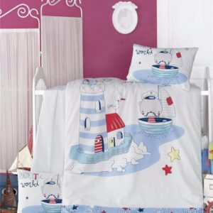 купить Постельное белье для младенцев Victoria Ранфорс Nautic Голубой фото