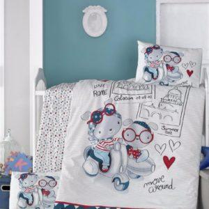 купить Постельное белье для младенцев Victoria Ранфорс Travel Bears Синий фото