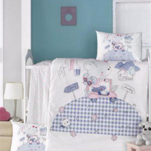 купить Постельное белье для младенцев Victoria Ранфорс Trip Голубой фото