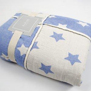 купить Плед микроплюш Barine Star Patchwork throw blue Голубой фото