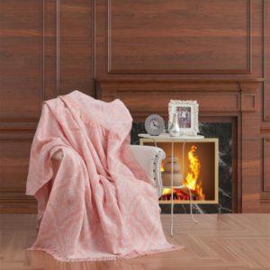 купить Плед-накидка Eponj Home Buldan Keten Damask pudra Розовый фото