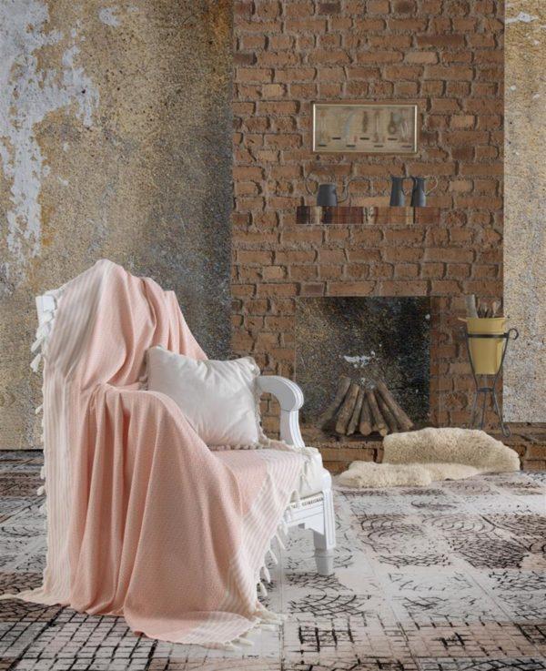 купить Плед-накидка Eponj Home Buldan Keten Etnik pudra Розовый фото
