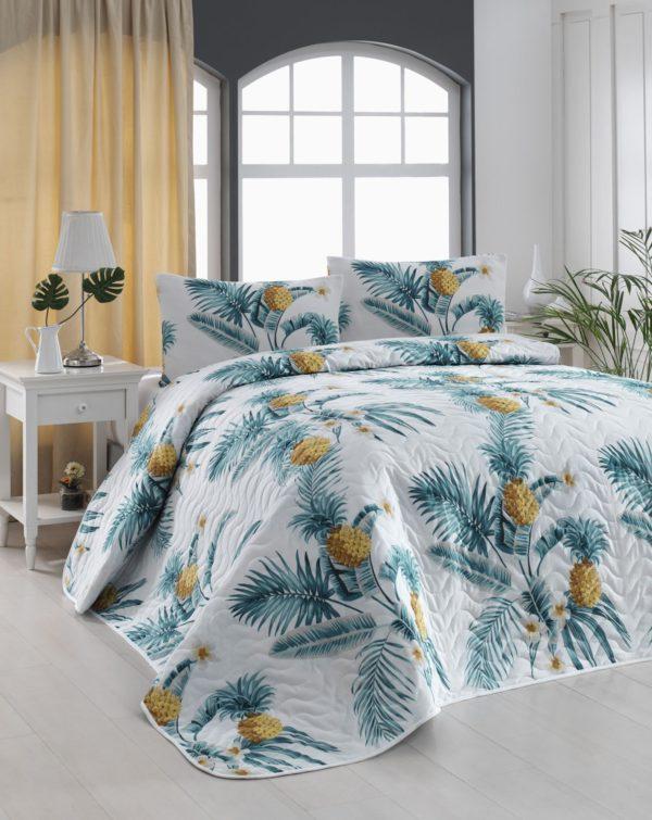 купить Покрывало стеганное с наволочками Eponj Home CustomAnanas beyaz Голубой фото