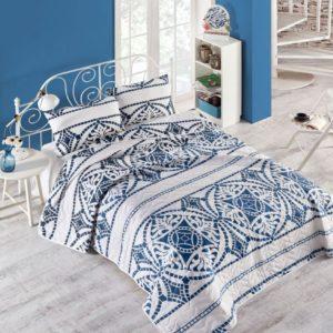 купить Покрывало стеганное с наволочками Eponj Home Marble lacivert Синий фото