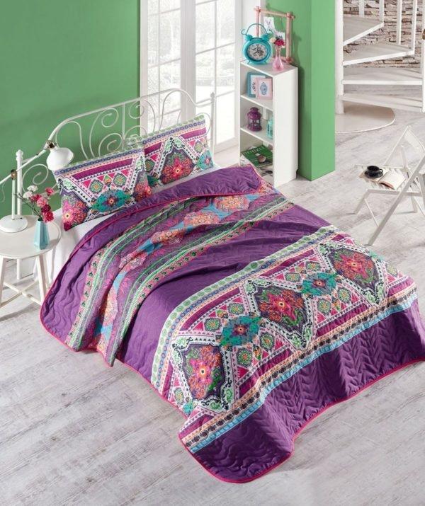 купить Покрывало стеганное с наволочками Eponj Home Rug fusya Фиолетовый фото