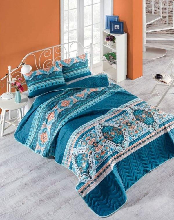 купить Покрывало стеганное с наволочками Eponj Home Rug yesil Бирюзовый фото