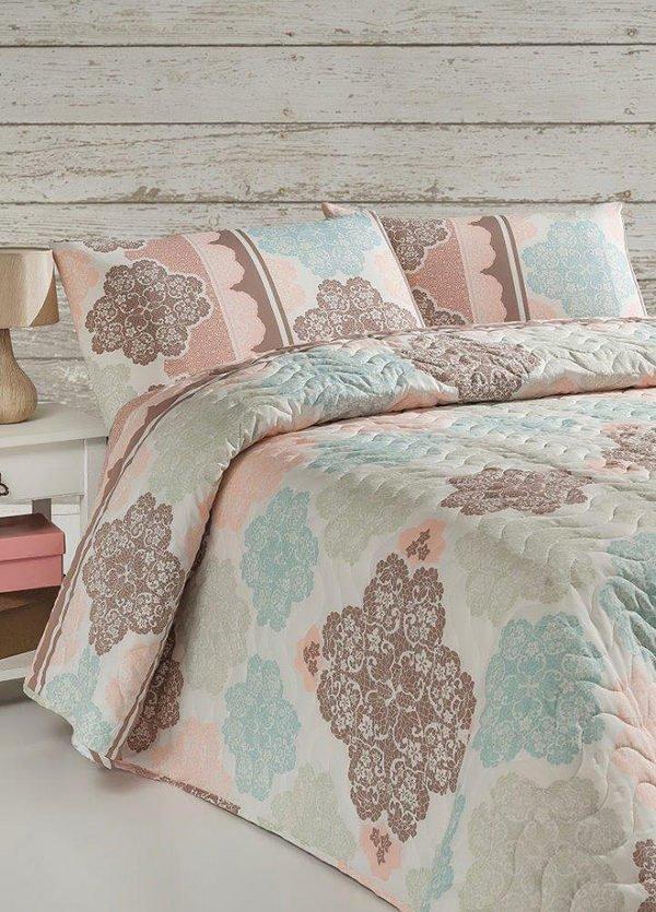 купить Покрывало стеганное с наволочкой Eponj Home Andalucia turkuaz Розовый фото
