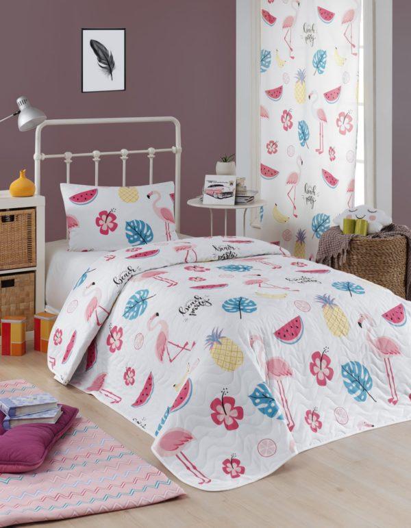 купить Покрывало стеганное с наволочкой Eponj Home Kokteyl beyaz Розовый фото