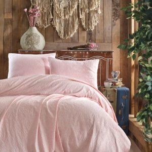 купить Покрывало с наволочками Eponj Home пике жаккард Leonar pudra Розовый фото