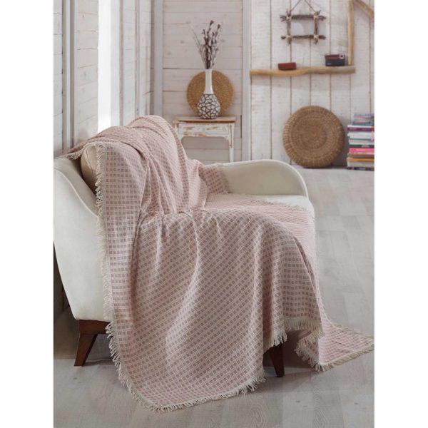 купить Покрывало хлопковое Eponj Home Cizgili A.Bordo Розовый фото