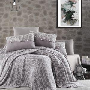 купить Постельное белье с покрывалом First Choice de luxe nirvana excellent kahve Серый фото