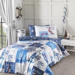 купить Постельное белье First Choice ранфорс молодежный sail Синий фото