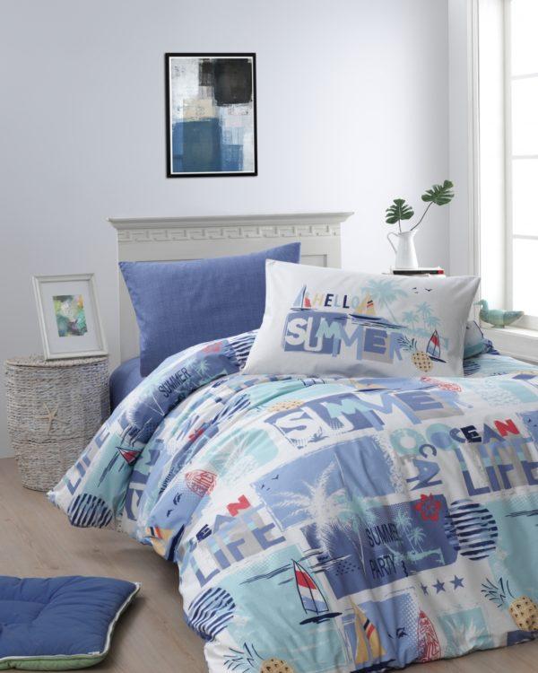 купить Постельное белье First Choice ранфорс молодежный summer mavi Голубой фото