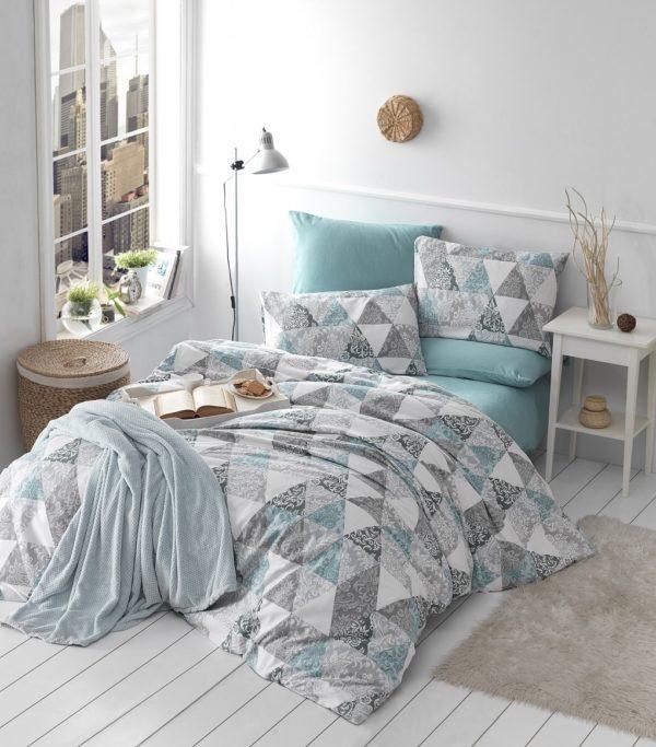 купить Комплект постельного белья Linda ранфорс 70013-01 Бирюзовый|Серый фото