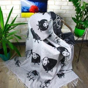купить Плед Funny Moose 140*200 Черный|Серый Черный|Серый фото
