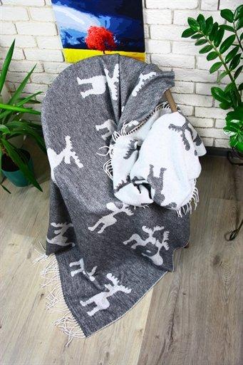 купить Плед Funny Moose 140*200 grey Серый фото