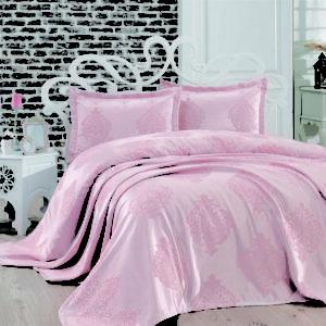 купить Покрывало двустороннее Dantela Vita Armoni Jakarli Pudra Розовый фото