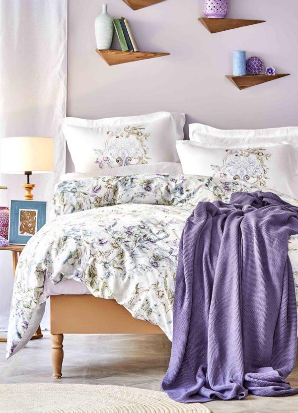 купить Постельное белье с пледом Karaca Home Elsira lila 2020-1 Лиловый фото
