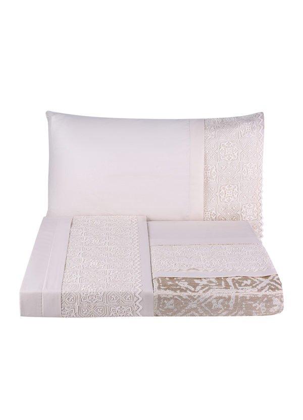купить Постельное белье с покрывалом пике Karaca Home Maya gold 2020-1 Розовый|Кремовый фото
