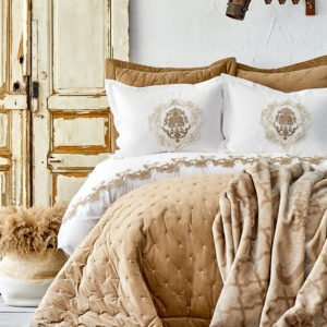 купить Постельное белье с покрывалом + плед Karaca Home Chester 2020-1 bej Бежевый фото