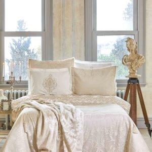 купить Постельное белье с покрывалом + плед Karaca Home Desire bej 2020-1 Бежевый|Кремовый фото
